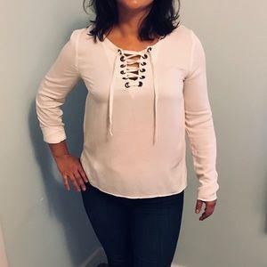 Kensie off-White cream soft long-sleeve blouse